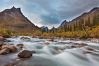 Arrigetch creek, Elephants Tooth, Xanadu, Arial and Calaban Peaks in the distance, Arrigetch Peaks, Gates of the Arctic National park, Alaska.