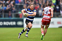 Ross Batty of Bath Rugby goes on the attack. Aviva Premiership match, between Bath Rugby and Gloucester Rugby on April 30, 2017 at the Recreation Ground in Bath, England. Photo by: Patrick Khachfe / Onside Images