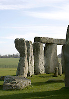 Circle of Sarsen Stones with lintels (fragment), Stonehenge, Neolithic and Bronze Age megalithic monument, 3050 - 1500 BC, Salisbury, Wiltshire, England, UK. Picture by Manuel Cohen
