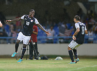 Antigua and Barbuda, Friday, Oct 12, 2012: The USA Men's National Team vs Antigua and Barbuda in the first round of qualifying for the 2014 World Cup. Eddie Johnson celebrates his goal with Clint Dempsey.