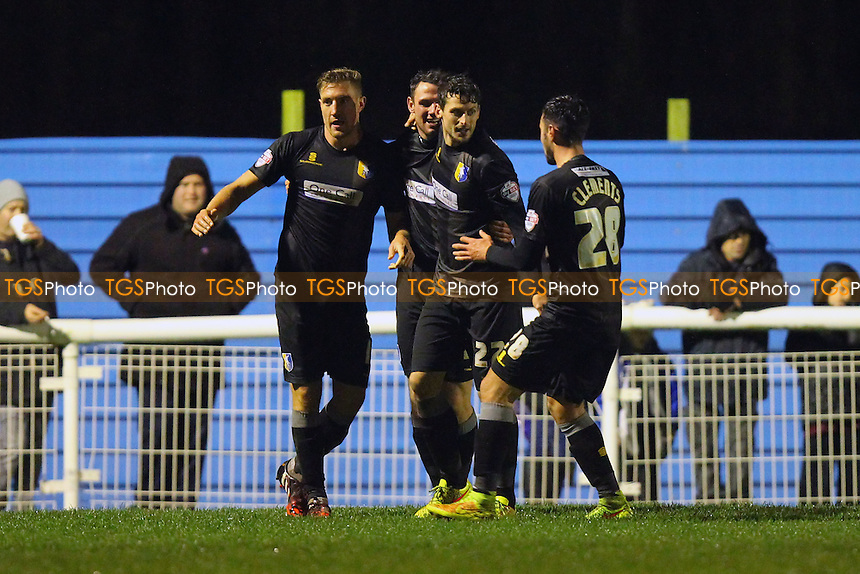 Mansfield Town celebrate scoring the first goal of the game through Ollie Palmer - Concord Rangers vs Mansfield Town - FA Challenge Cup 1st Round Replay Football at the Aspect Arena, Thames Road, Canvey Island, Essex - 25/11/14 - MANDATORY CREDIT: Gavin Ellis/TGSPHOTO - Self billing applies where appropriate - contact@tgsphoto.co.uk - NO UNPAID USE