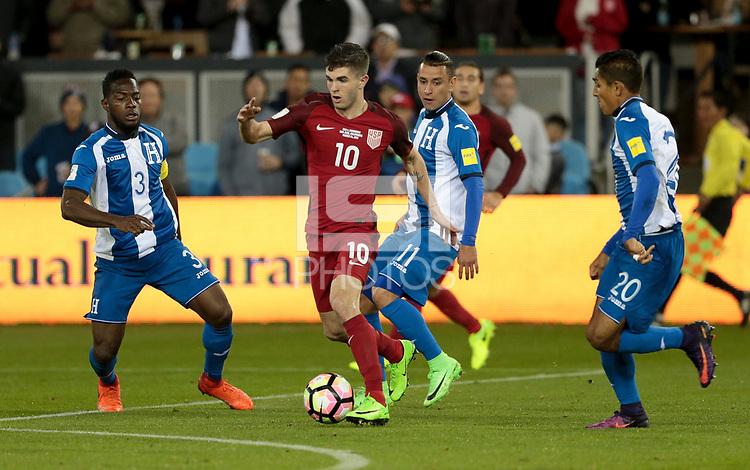 San Jose, CA - March 24, 2017: The U.S. Men's National team go up 6-0 over Honduras during their 2018 FIFA World Cup Qualifying Hexagonal match at Avaya Stadium.