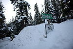 Snow banks bury a street sign in Tahoe City, Calif., January 6, 2011. California has already received 80% of its normal annual precipitation in the first two months of a rainy season that lasts another four months..CREDIT: Max Whittaker for The Wall Street Journal.CALWATER