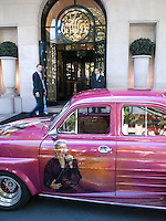 France. Paris. Hotel Georges V. Customised classic french car belonging to a Johnny Hallyday's fan. Hand painted. Rock'n roll. 23.05.09  &copy; 2009 Didier Ruef..