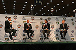 17 January 2008: Major League Soccer Commissioner Don Garber (2nd from left) appears on a live Fox Soccer Channel broadcast from the Exhibit Hall. The 2008 National Soccer Coaches Association of America's annual convention was held at the Convention Center in Baltimore, Maryland.
