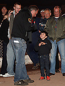 Jon Cook on the mike chats to a young Hammers fan - Lakeside Hammers Open Evening at the Arena Essex Raceway, Pufleet - 23/03/12 - MANDATORY CREDIT: Rob Newell/TGSPHOTO - Self billing applies where appropriate - 0845 094 6026 - contact@tgsphoto.co.uk - NO UNPAID USE..