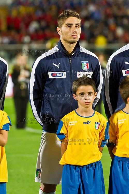 PESCARA (PE) 12/10/2012: QUALIFICAZIONE EUROPEI UNDER 21 ITALIA - SVEZIA. PARTITA VINTA DALL'ITALIA CON UN GOAL DI IMMOBILE. NELLA FOTO CAPUANO ITALIA  FOTO ADAMO DI LORETO