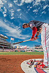 11 September 2016: Washington Nationals outfielder and Baseball America top prospect Trea Turner prepares his bat in the on-deck circle during a game against the Philadelphia Phillies at Nationals Park in Washington, DC. The Nationals edged out the Phillies 3-2 to take the rubber match of their 3-game series. Mandatory Credit: Ed Wolfstein Photo *** RAW (NEF) Image File Available ***