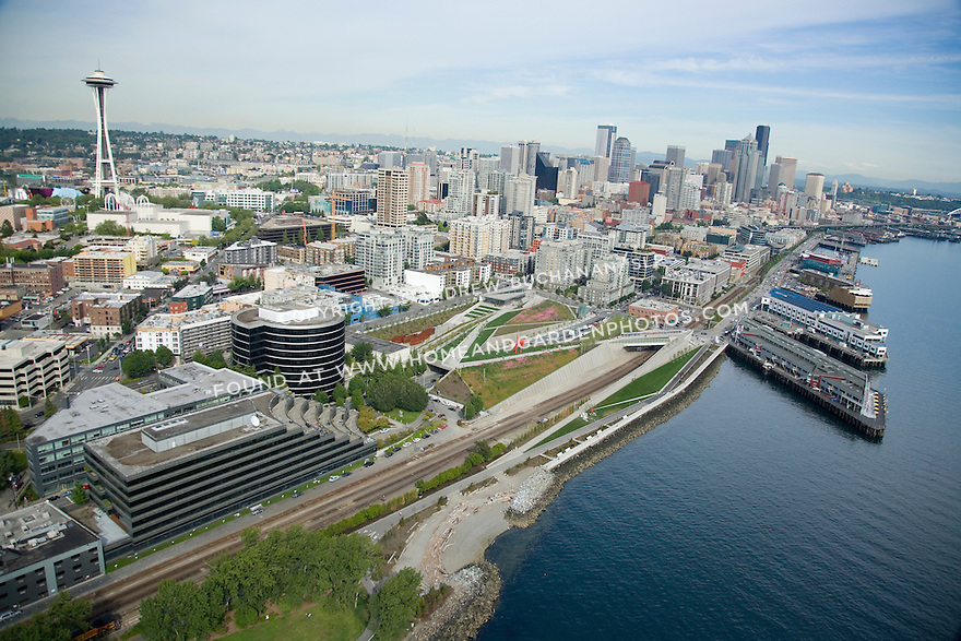 Looking south along the Seattle waterfront with the Sculpture Park in the center, the Space Needle at left, and downtown back right.