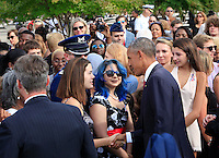 WASHINGTON DC - SEPTEMBER 11: President Barack Obama shakes hands with guests at the Pentagon Memorial in Washington, DC during an observance ceremony to commemorate the 15th anniversary of the 9/11 terrorist attacks, Sunday, September 11, 2016. <br /> Credit: Dennis Brack / Pool via CNP/MediaPunch