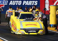 Feb 24, 2017; Chandler, AZ, USA; Crew chief Dickie Venables guides NHRA funny car driver Matt Hagan to stage during qualifying for the Arizona Nationals at Wild Horse Pass Motorsports Park. Mandatory Credit: Mark J. Rebilas-USA TODAY Sports