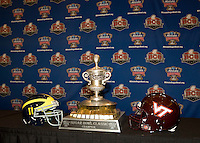 Sugar Bowl Trophy with team helmets is pictured during Head Coaches Press Conference at Marriott Hotel at the Convention Center on January 2nd, 2012.