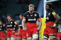 George Kruis of Saracens looks on during a break in play. Aviva Premiership match, between Saracens and Worcester Warriors on November 28, 2015 at Twickenham Stadium in London, England. Photo by: Patrick Khachfe / JMP