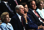 From left to right: former first lady Betty Ford, former United States President Gerald  R. Ford, Dorothy Bush Koch, former United States President George H.W. Bush, and former first lady Nancy Reagan at the Republican National Convention in Philadelphia, Pennsylvania on August 1, 2000. <br /> Credit: Erik Freeland / Pool via CNP