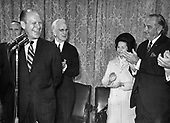 Ann Arbor, MI - FILE --  United States President Lyndon B. Johnson and first lady Lady Bird Johnson, United States Senate Majority Leader Mike Mansfield (Democrat of Montana), Speaker of the House John McCormack (Democrat of Massachusetts)and others salute House Minority Leader Gerald R. Ford (Republican of Michigan).  Date: 1967<br /> Credit: Courtesy Gerald R. Ford Library via CNP