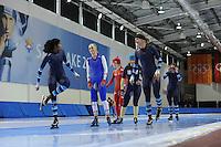 SCHAATSEN: SALT LAKE CITY: Utah Olympic Oval, 13-11-2013, Essent ISU World Cup, training, Anice Das (NED), Anouk van der Weijden (NED), Manon Kamminga (NED), ©foto Martin de Jong