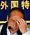 (April 7, 2011), Tokyo, Japan - Former Gov. Hideo Higashikokubaru of Miyazaki prefecture, southern Japan, taps his forehead as he speaks during a news conference at Tokyo Foreign Correspondent Club of Japan on Thursday, April 7, 2011. The 53-year-old comedian-turned-politician tossed his hat in the ring, running in the April 10 Tokyo gubernatorial election as an independent against incumbent Shintaro Ishihara. (Photo by Natsuki Sakai/AFLO) [3615] -mis-..