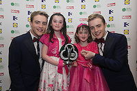 03/06/2014  <br /> Alyssa Kelly with her sister Amber after Alyssa recieved the Child of Courage award from  Jedward<br /> during the Pride of Ireland awards at the Mansion House, Dublin.<br /> Photo: Gareth Chaney Collins