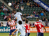 CARSON, CA - April 1, 2012: Kei Kamara (23) of KC and Ante Jazic (13) of Chivas USA during the Chivas USA vs Sporting KC match at the Home Depot Center in Carson, California. Final score Sporting KC 1, Chivas USA 0.