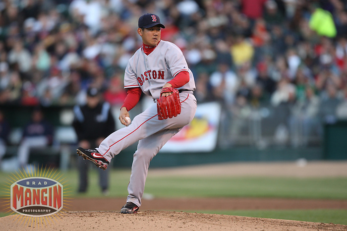 OAKLAND, CA - June 5:  Daisuke Matsuzaka of the Boston Red Sox pitches during the game against the Oakland Athletics at the McAfee Coliseum in Oakland, California on June 5, 2007.  The Athletics defeated the Red Sox 2-0.  Photo by Brad Mangin