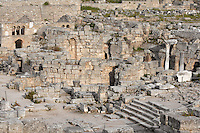 A general view of the Fountain of Peirene at the head of the Lechaion Road, on April 15, 2007 in Corinth, Greece. The Fountain of Peirene, seen in the afternoon light by the steps of the Lechaion Road, is said to mark the spot where the nymph Peirene was turned into a spring by the tears she shed in mourning for her son. This chief source of water for Ancient Corinth was remodelled by the Romans into a fountain complex, with Ionic colums which were added in the 3rd century AD. Corinth, founded in Neolithic times, was a major Ancient Greek city, until it was razed by the Romans in 146 BC.