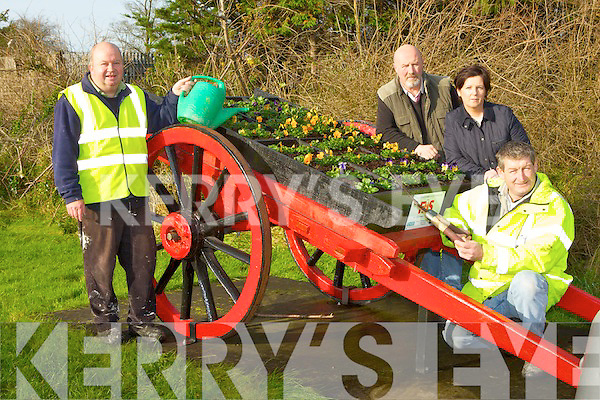 FAS workers who have helped build, flower and maintain a cart full of flowers in Killorglin as part of their Tidy Towns campaign l-r: Terence Houlihan, Billy Browne, Patricia Spillane and  Brendan Morris