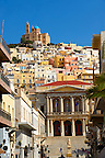 The Neo Classic City Hall of Ermoupolis, Miaoulis Square and the Greek Orthodox Church of Anastasis built in 1870 on the top of Vrodado Hill,  Ermoupolis, Syros [ ????? ] , Greek Cyclades Islands