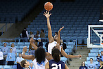 14 November 2014: North Carolina's Stephanie Mavunga (behind) wins the opening tipoff. The University of North Carolina Tar Heels hosted the Howard University Bison at Carmichael Arena in Chapel Hill, North Carolina in a 2014-15 NCAA Division I Women's Basketball game. UNC won the game 83-49.