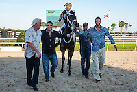 OLDSMAR, FL - JANUARY 21: R Angel Katelyn #2 (white cap), ridden by Edwin Gonzalez, entering the winner circle after winning the Gasparilla Stakes on Skyway Festival Day at Tampa Bay Downs on January 21, 2017 in Oldsmar, Florida. (Photo by Douglas DeFelice/Eclipse Sportswire/Getty Images)
