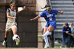 27 October 2013: Duke's Laura Weinberg (16) scores a goal past Pittsburgh's Jaci Brown (8). The Duke University Blue Devils hosted the Pittsburgh University Panthers at Koskinen Stadium in Durham, NC in a 2013 NCAA Division I Women's Soccer match. Duke won the game 6-3.