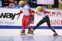 "SHORT TRACK: MOSCOW: Speed Skating Centre ""Krylatskoe"", 15-03-2015, ISU World Short Track Speed Skating Championships 2015, Quarterfinals 1000m Men, Charles HAMELIN (#110   CAN), Shaolin Sandor LIU (#129   HUN), ©photo Martin de Jong"