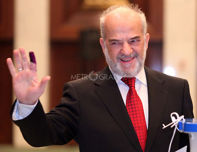BAGHDAD, IRAQ: Ibrahim Al-Jaafari, the Prime Minister of Iraq from 2005 to 2006 votes...On March 7th, 2010, Iraq held nationwide parliamentary elections.