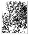 """A Change of Programme. """"Here, you! Get back! I'M the hunter, not you!"""" (Hitler the hunter with his dog hounds are confronted with the large Russian Bear)"""