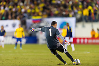Colombia goalkeeper David Ospina (1). Brazil (BRA) and Colombia (COL) played to a 1-1 tie during international friendly at MetLife Stadium in East Rutherford, NJ, on November 14, 2012.