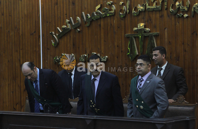 The Judge speaks during the trial of Members of Egyptian 'Ultras of Raba'wi', in a court in Cairo on May 14, 2015. Photo by Stringer