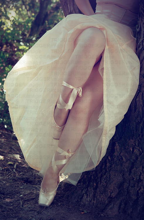 A ballerina in toe shoes with a vintage dress standing in the nature