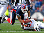 4 November 2007: Buffalo Bills tight end Derek Schouman pulls in a pass from quarterback J.P. Losman during a game against the Cincinnati Bengals at Ralph Wilson Stadium in Orchard Park, NY. The Bills defeated the Bengals 33-21 in front of a sellout crowd of 70,745...Mandatory Photo Credit: Ed Wolfstein Photo