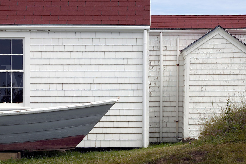 Detail of fishing boat and light keeper's house. Monhegan Island, Maine. (The island has long nourished many artists.)