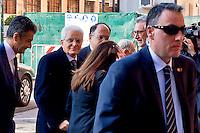 Roma, 12 Febbraio 2015<br /> Il presidente della Repubblica Sergio  Mattarella, alla commemorazione di Vittorio Bachelet, nella facolt&agrave; di Scienze Politiche, Universit&agrave; La Sapienza, 35 anni dopo il suo omicidio per mano delle Brigate Rosse. Il presidente della Repubblica Sergio  Mattarella arriva all'Universit&agrave; La Sapienza.<br /> Rome, February 12, 2015<br /> The President of the Republic Sergio Mattarella, the commemoration of Vittorio Bachelet, in the Faculty of Political Science, University La Sapienza, 35 years after his murder at the hands of the Red Brigades. The President of the Republic Sergio Mattarella arrives at La Sapienza University