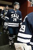 Ryan Obuchowski (Yale - 14) - The Boston College Eagles tied the visiting Yale University Bulldogs 3-3 on Friday, January 4, 2013, at Kelley Rink in Conte Forum in Chestnut Hill, Massachusetts.