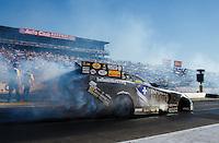 Nov 13, 2016; Pomona, CA, USA; NHRA funny car driver Jack Beckman during the Auto Club Finals at Auto Club Raceway at Pomona. Mandatory Credit: Mark J. Rebilas-USA TODAY Sports