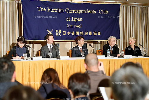 Tadanobu Asano (second left), Yosuke Kubozuka (centre) and Issey Ogata (second right), cast of the film SILENCE (Chinmoku) speak during a press conference at the Foreign Correspondents' Club of Japan on January 12, 2017, Tokyo, Japan. The Japanese cast of the film attended the news conference after a special screening function at Kadokawa Cinema in Yurakucho. The film is directed by Martin Scorsese and hits Japanese theaters on January 21. (Photo by Rodrigo Reyes Marin/AFLO)