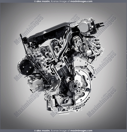 Cross section of 2017 Buick Lacrosse 3.6L V6 VVT DI 310HP car engine showing the cylinder, piston and valves isolated with clipping path on gray background
