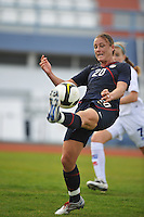 US forward #20 Abby Wambach receives a ball during a game vs Iceland in VIla Real Sto. Antonio, Portugal during the 2010 Algarve Cup.