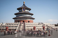 Tourists gather around the Temple of Heaven (Tian Tan) Beijing, China.