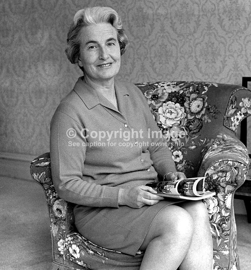 Mrs JLM Haire, wife, Professor JLM Haire, Moderator, Presbyterian Church in Ireland, 1970/1971. 197006000197<br /> <br /> Copyright Image from<br /> Victor Patterson<br /> 54 Dorchester Park<br /> Belfast, N Ireland, UK, <br /> BT9 6RJ<br /> <br /> t1: +44 28 90661296<br /> t2: +44 28 90022446<br /> m: +44 7802 353836<br /> e1: victorpatterson@me.com<br /> e2: victorpatterson@gmail.com<br /> <br /> www.victorpatterson.com