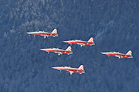 February 7, 2017: The Swiss Air Force's air display team Patrouille Suisse put on a pre-race airshow at the FIS Alpine Ski World Championships. Photo Sydney Low