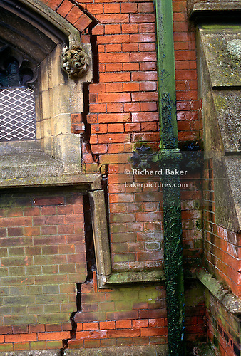 Large Cracks Have Appeared In Brickwork Of A Church In Toxteth Liverpool England Vertical