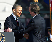 United States President Barack Obama and Prime Minister David Cameron of Great Britain shake hands during the welcomeceremony for Cameron and his wife, Samantha, to the White House in Washington, D.C. on Wednesday, March 14, 2012..Credit: Ron Sachs / CNP