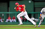 23 April 2010: Washington Nationals' outfielder Justin Maxwell on the basepath against the Los Angeles Dodgers at Nationals Park in Washington, DC. The Nationals defeated the Dodgers 5-1 in the first game of their 3-game series. Mandatory Credit: Ed Wolfstein Photo